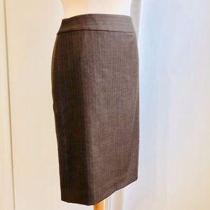 Ann Taylor Pin Stripe Brown Pencil Skirt 6 Small